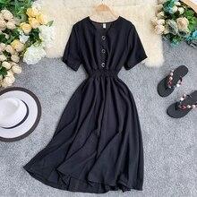 2020 V Neck Ladies Slim Button Summer Midi Long Dress elegant Women Vestidos Rob