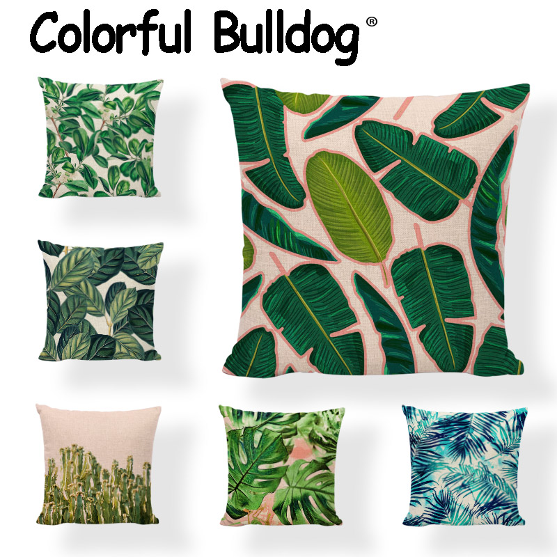 Spring Green Tropical Rainforest Throw Pillow Case African Plants 43*43CM Palm Leaves Flamingo Home Living Room Couch Decorate