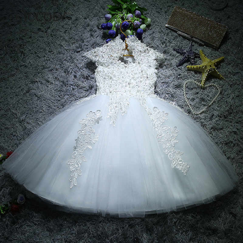 b5455fc821992 Newborn Baby Girls Baptism Christmas Dresses White Sequin Beads Lace 1 Year Birthday  Dress Infant Princess
