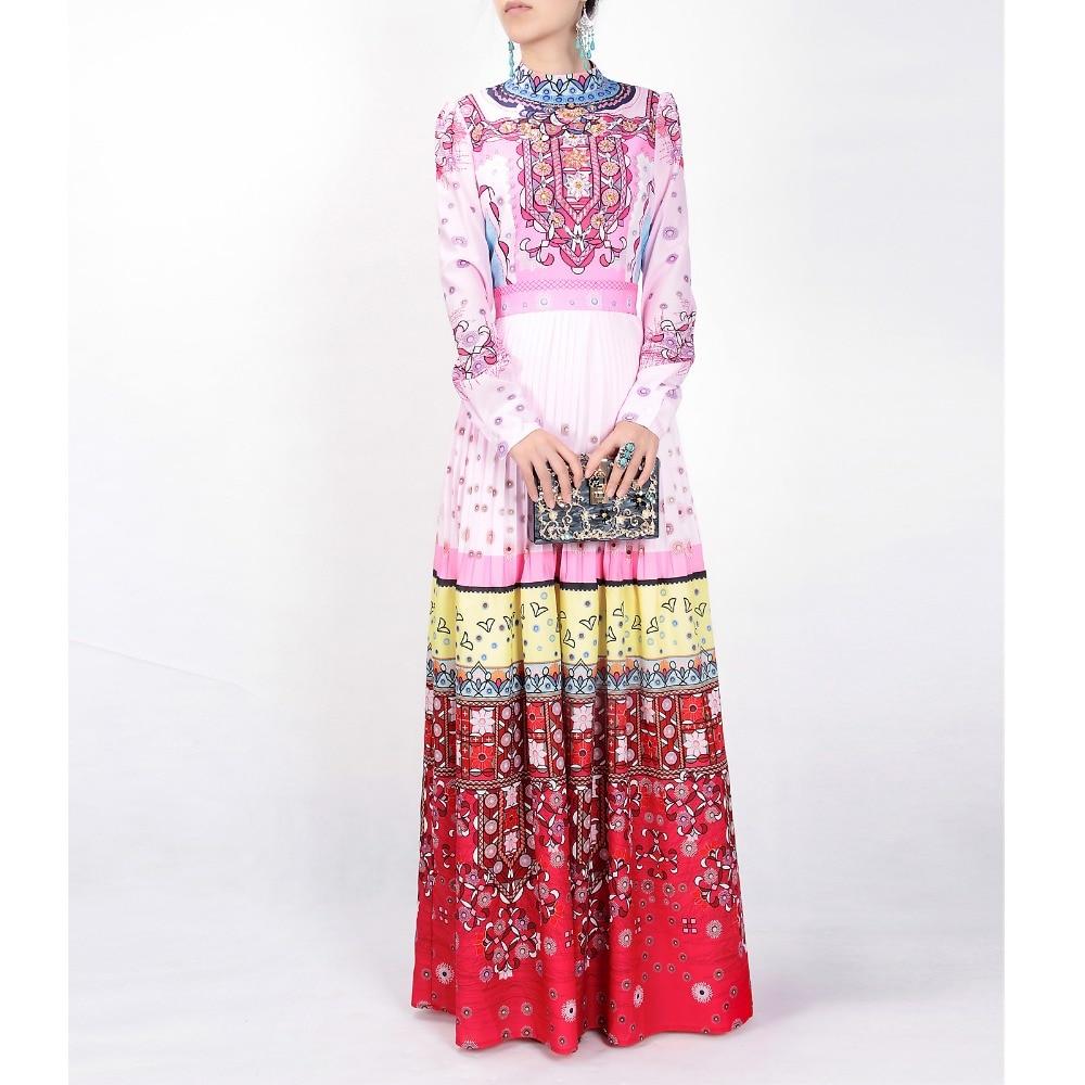 High quality 2017 designer Fashion runway Printed Maxi dress Long sleeve Bohemia Diamonds multicolor Retro Indie