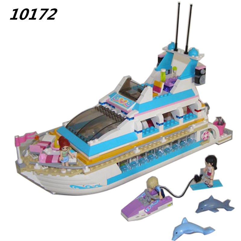 AIBOULLY Friends Series Girls Large cruise ships Model minis Building Blocks girl Summer baby toys compatible 41015 aiboully friends series city park ferris wheel model building block girl toys kids gifts bricks minis compatible with