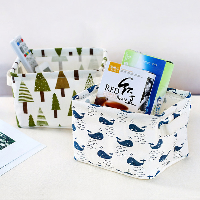 Desktop Storage Basket Cute Print Waterproof Organizer Cotton Linen 4