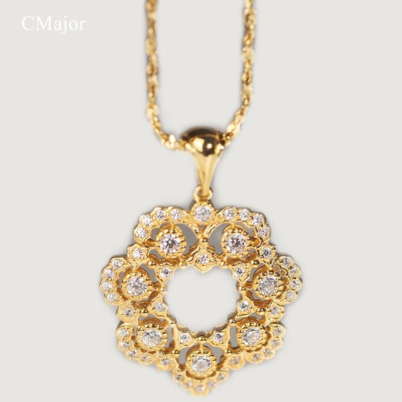 Cmajor en argent Sterling fleur creuse chanceux-guirlande colliers minimaliste mode pendentif neclacets pour les femmes