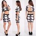 Женская мода Лето сексуальная Bodycon Черный белый печатных Платье элегантность 2 шт. сверху и платье спинку платье 34