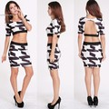 Fashion Women Summer sexy Bodycon Black white printed Dress elegance 2 piece top and dress backless dress 34