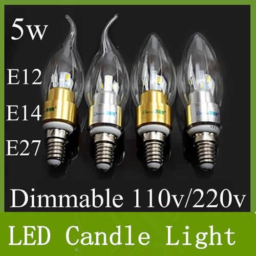Free Shipping High power 5W 400lm Dimmable Led candle Bulb E14 E12 E27 85-265V LED chandelier led light lamp lighting spotlight