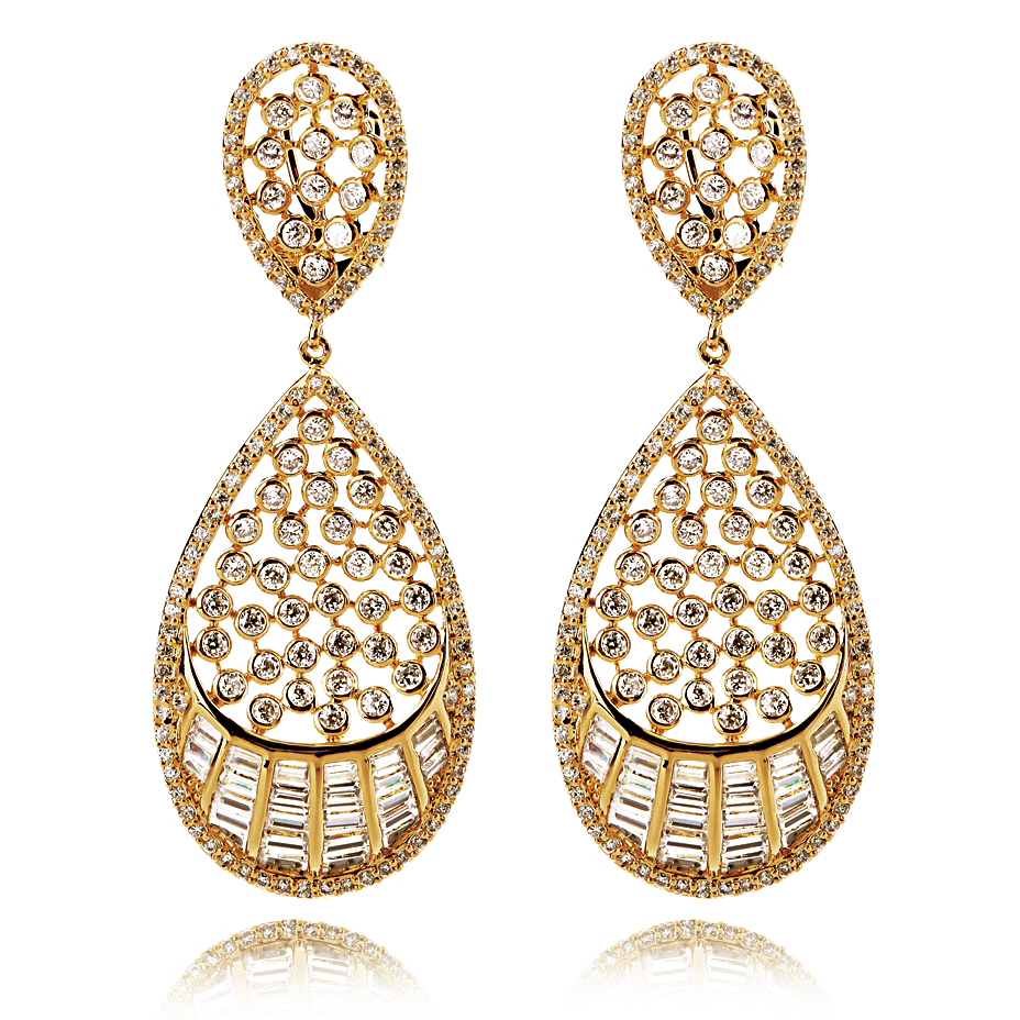 Deluxe 18k Gold Plated 330 pcs Cubic Zirconia Crystal Big Water Drop Earrings Vintage Long Dangle Earrings Women Wedding (HYB0 ) yoursfs leverback earrings 18k white rose gold plated fashion jewelry women square crystal dangle drop earrings