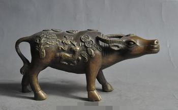 S2439 Chinese Fengshui Bronze Beast Ox Bull Bat Deer Money Coin Wealth Lucky Statue Discount 30% (C0324)