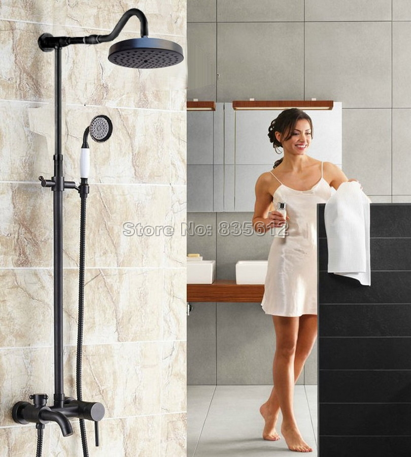 Black Oil Rubbed Bronze Bathroom Single Handle Rain Shower Faucet Set with Round Shower Head & Tub Mixer Taps Wall Mount Wrs628