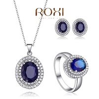 ROXI Sapphire Necklace Pearl Fine Jewelry Sets 925 Sterling Silver Crystal Wedding Accessories  Jewelry