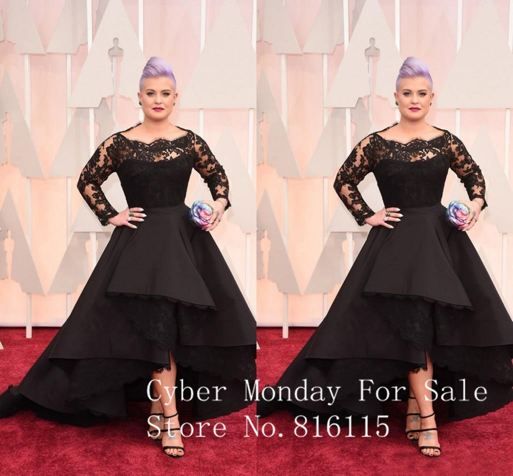 E Free Shipping Kelly Osbourne 2015 Oscars Evening Dresses Bateau Long Sleeve Lace Hi Lo Celebrity Dresses Custom Made