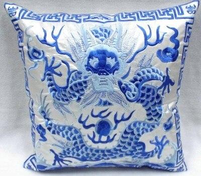 Полная вышивка дракон китайская наволочка 42x42 см квадратная декоративная Рождественская наволочка для подушки высокого класса подушка для поддержки поясничного отдела - Цвет: Белый