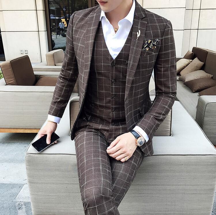 Mens Formal Wear Plaid Tuxedo Prom Suit Brown Plaid Suit 3 Piece Vintage Wedding Suit Costume Homme Men Designer Suit 3XL