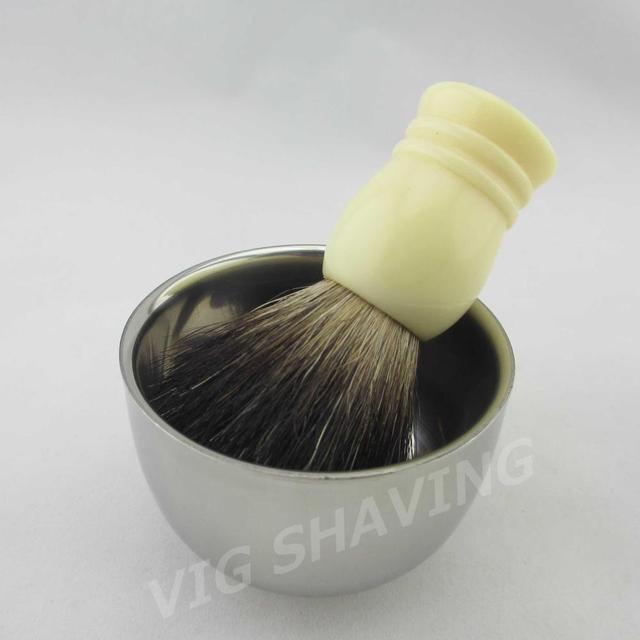 Shaving set Double Stainlessshaving bowl shave mug with Black badger shaving brush resin Faux Ivory  handle ST203BLFI