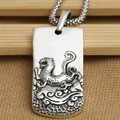 Handmade S925 pure silver tiger pendant vintage thai sterling silver the Chinse zodiac tiger necklace pendant jewelry gift