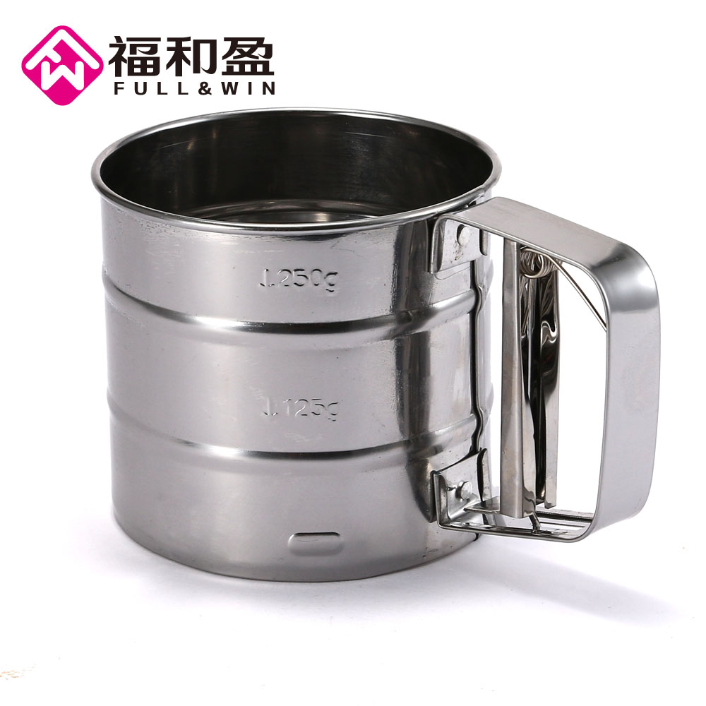 Hot Sale Strainer Cup Flour Mesh Flour Bolt Sifter Manual Sugar Shaker Stainless Steel Cup Shape Pastry Brushes Tamizador