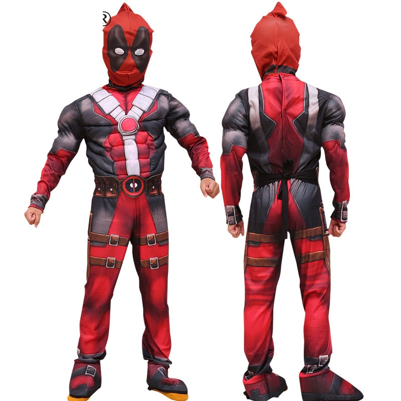 Muscle Deluxe Boys Marvel Anti-Hero Dead Pool Muscle Costume Movie Halloween Carnival Party Cosplay Costume for Kids