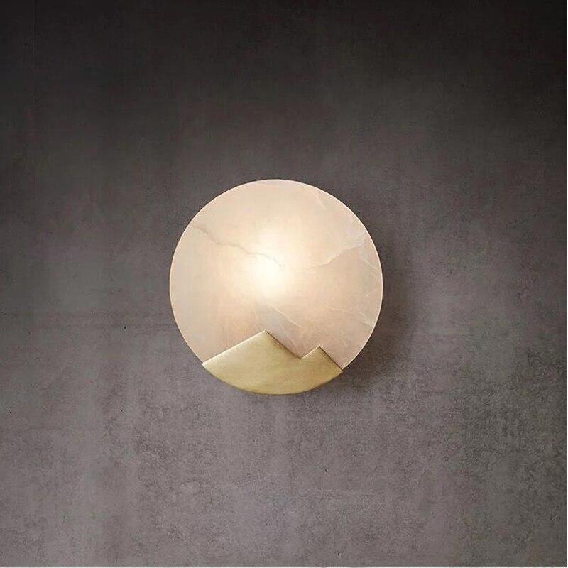 GETOP Nordique Circulaire Mur Lampe Marbre Cuivre Billet LED Creative Salon Escalier Moderne Simple Éclairage Lampes