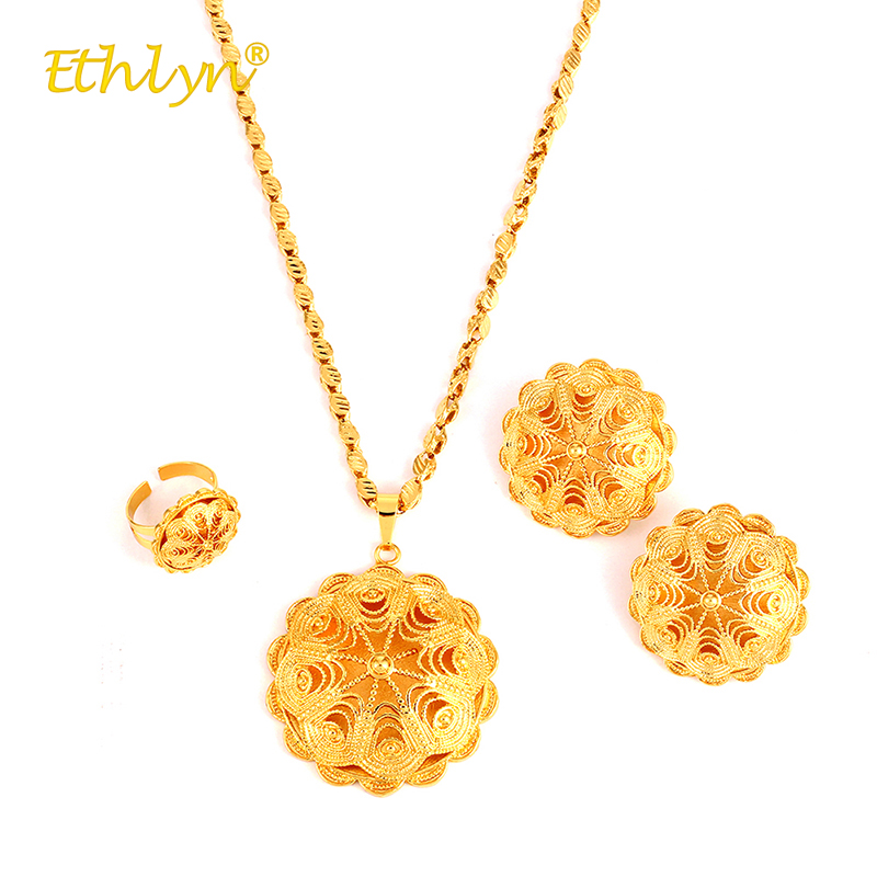 Ethlyn 3Pcs Africa/the Middle East/Ethiopia Wedding Accessories Hollow Flower Big Necklace/Stud Earrings/Ring Jewelry Set Women chic hollow alloy circle ring stud earrings for women
