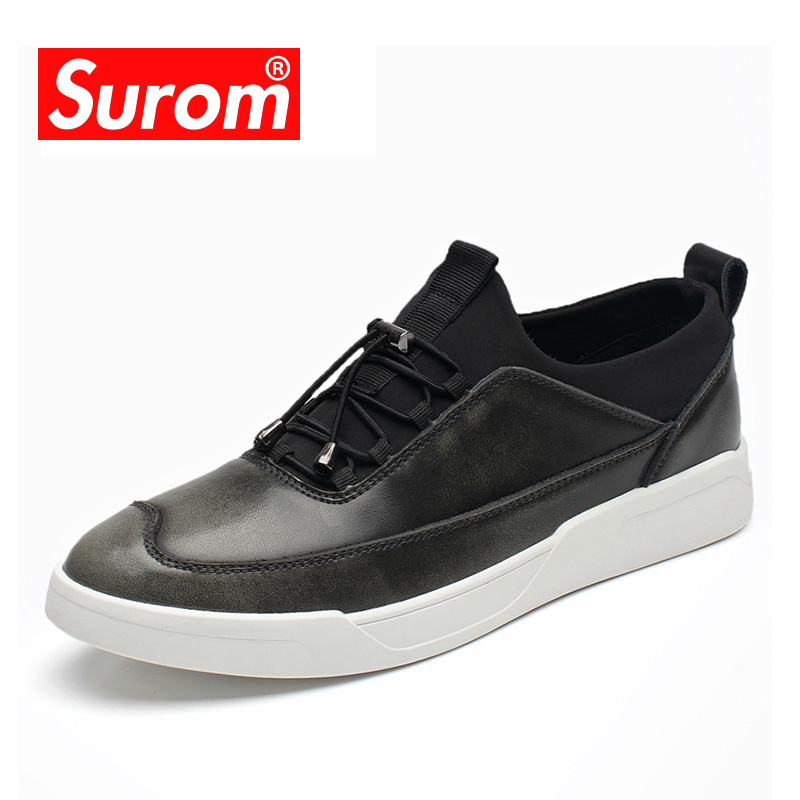 SUROM Luxury Brand Men's Shoes England Trend Casual Leather Shoes Breathable Autumn Winter New Lace up Fashion Flat Heel Loafers real autumn winter shoes men genuine leather lace up mens casual handmade fashion luxury brand flat breathable flats male shoe