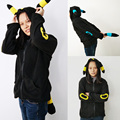 2016 Halloween Women Pokemon Shiny Umbreon Hoodies Sweatshirts Zip Up Coat Cute Umbreon Cosplay Costume With Ears And Tail