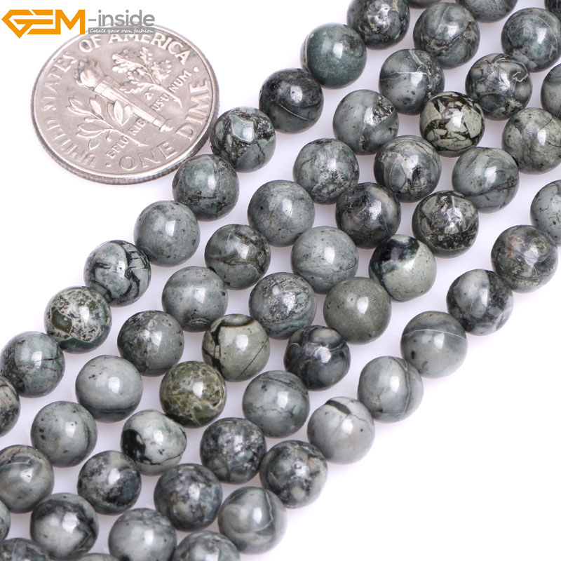 Gem-inside Natural Round Smooth Gray Bre Jasper Stone Beads for Jewelry Making 15inches DIY Christmas JewelleryGem-inside Natural Round Smooth Gray Bre Jasper Stone Beads for Jewelry Making 15inches DIY Christmas Jewellery