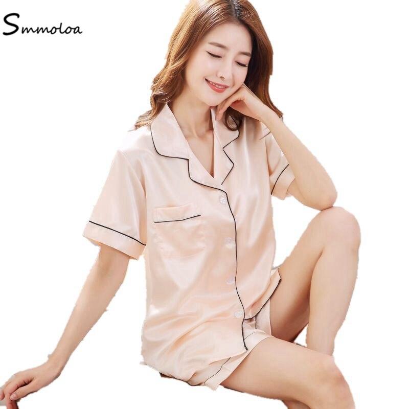 Smmoloa Short Sleeve Silk Pajamas Set Striped Women Sleepwear Fashion Nightwear Pijama 2019