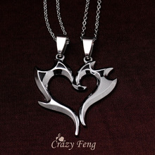Free shipping 316L Stainless Steel Heart Pendant Chain Necklaces Couple Necklaces Gift Jewelry for Men Women Lovers Wholesale
