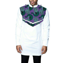 African Print Men's Shirt Dashiki Ankara Clothes Fashion Print White Stand Collar Shirt Patchwork Male Long Sleeve Tops недорого