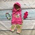 Dia de Páscoa do coelho do bebê de algodão xadrez roupa meninas capris VERÃO roupas sem mangas boutique com capuz combinando com Acessórios