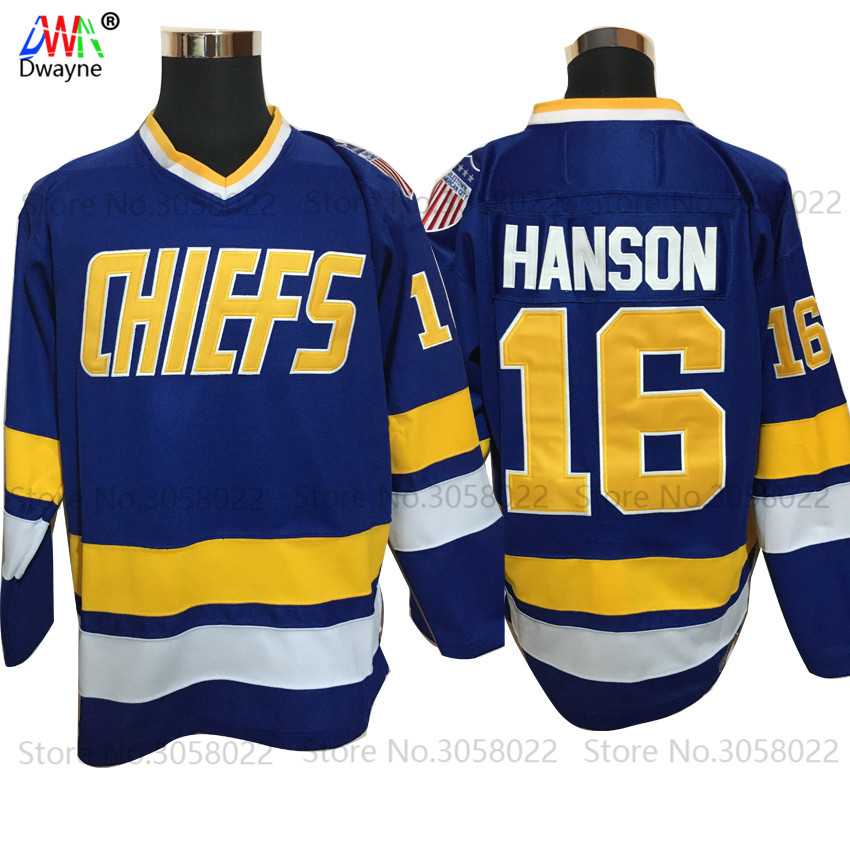 2017 Dwayne Mens Cheap Ice Hockey Jersey Vintage Jack Hanson 16 Charlestown Chiefs Hockey Jerseys Stitched Vintage Ice Wear Blue