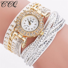 CCQ Watch Women Brand Luxury Gold Fashion Crystal Rhinestone Bracelet Women Dress Watches Ladies Quartz Wristwatches