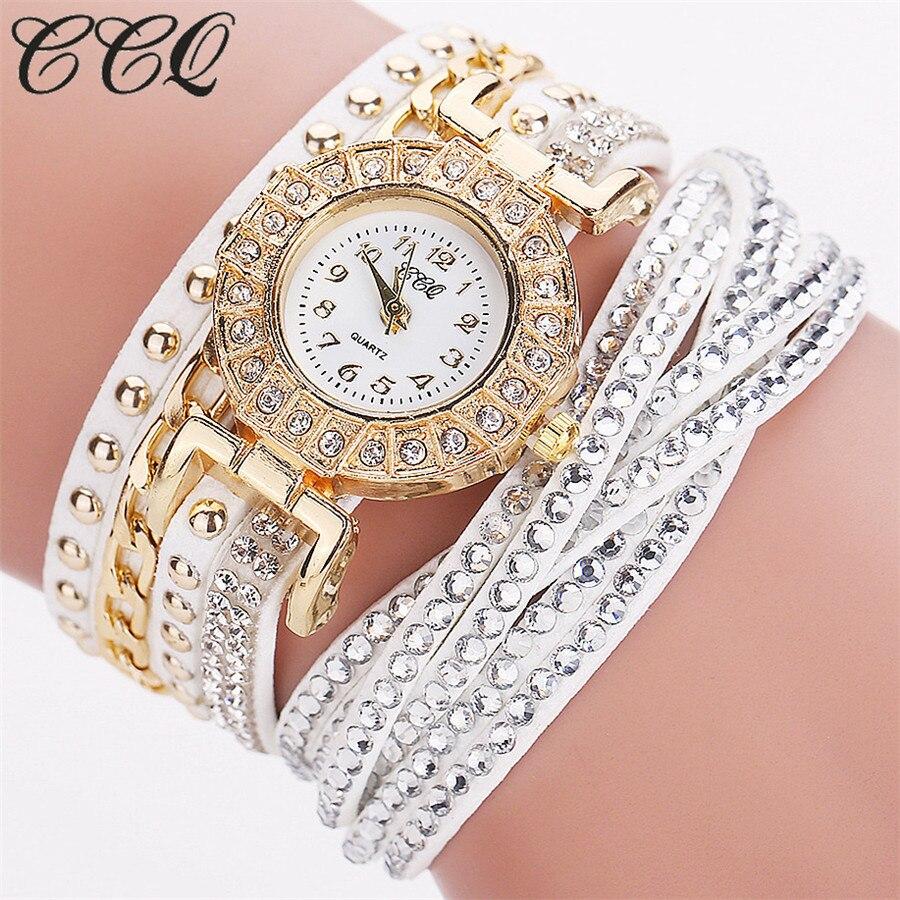 CCQ Watch font b Women b font Brand Luxury Gold Fashion Crystal Rhinestone Bracelet font b
