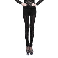 Gothic Style Black Sexy Lace Special Design Leggings Punk Women Splice Vestidos Pants Hollow Out Stretch Leggings Pants