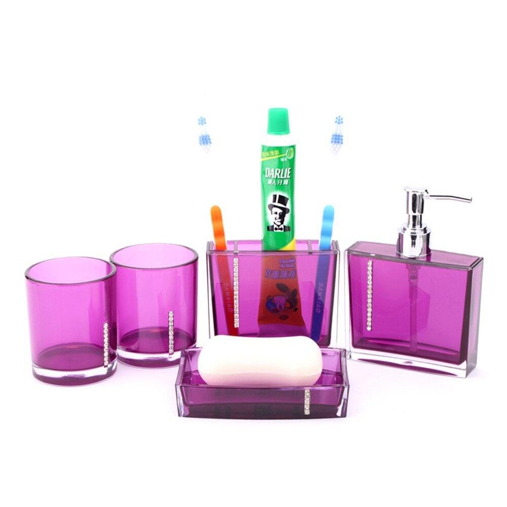 Modern 5Pcs Bathroom Set Wash Cup+Toothbrush Holder+Lotion Dispenser ...
