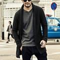Marca Solta Longo Mens Cardigans Camisolas dos homens Malhas Camisola flor cinza masculino cardigan Casual casaco masculino 2016 outono