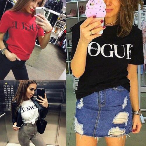 25c5c591d382 2017 Brand Summer Tops Fashion Clothes for Women VOGUE Letter ...