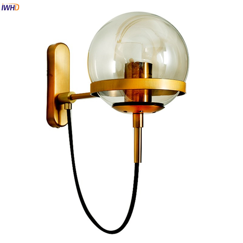 IWHD Nordic Modern LED Wall Lamp Beside Bedroom Living Room Glass Ball Vintage Wall Light Fixtures Wandlamp Applique Murale