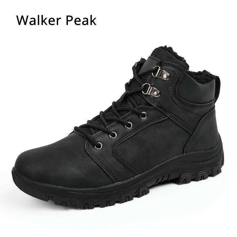 цены Mens Boots Winter With Fur 2019 Warm Ankle Snow Boots for Men Genuine leather Shoes Male Footwear Fashion Rubber Walker Peak