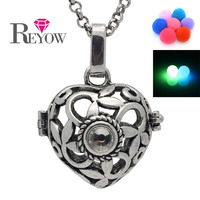 Free Shipping Antique Silver Rhinestone Heart Flower Locket Box Cage Aromatherapy Essential Oil Diffuser Necklace