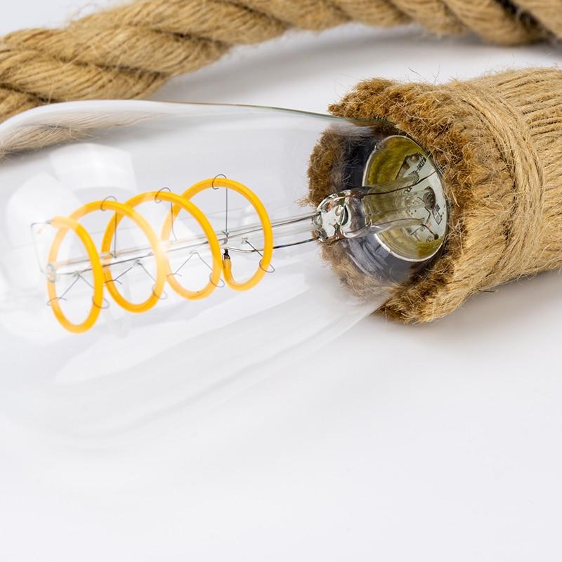 Vintage Hemp Rope Pendant Light Holder 1M 1.5M 2M 3M AC85-265V E27 Loft Creative Personality Industrial Decoration Lamp Base