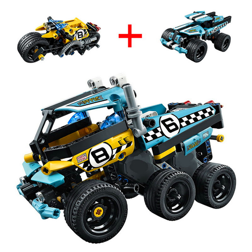 2 In 1 Technic Stunt Bike Warrior Off-Roader Racer Car Truck Model Building Block Toys KAZI Gift For Children Compatible Legoe 608pcs race truck car 2 in 1 transformable model building block sets decool 3360 diy toys compatible with 42041