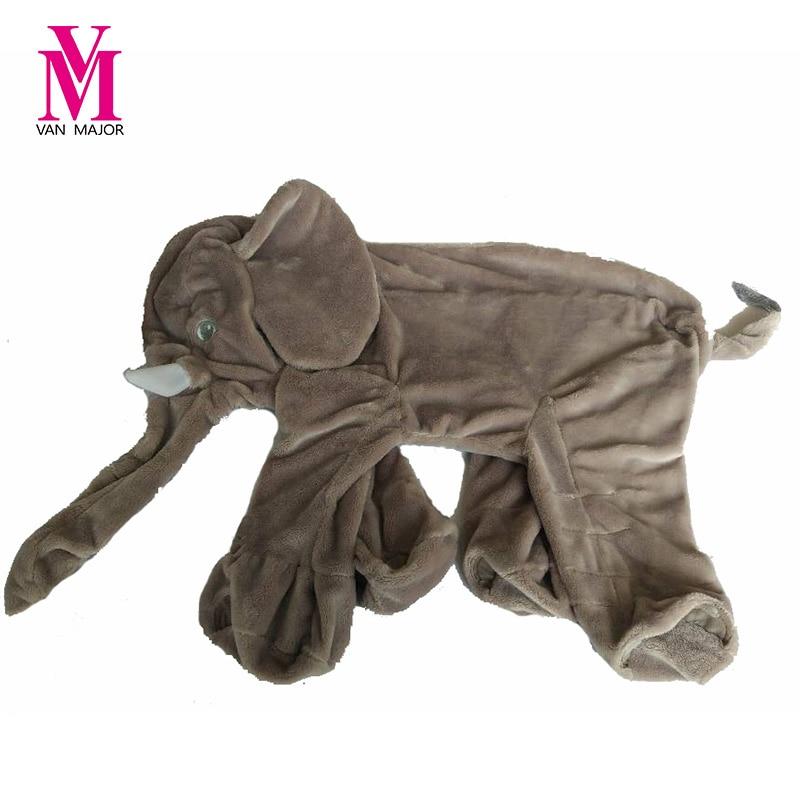 60cm Elephant Skin Plush Mjukt Toy Fylld Baby Kids Toy Anminal Stor Storlek Blå Baby Sleep Pillow Baby Calm Doll Present För Barn