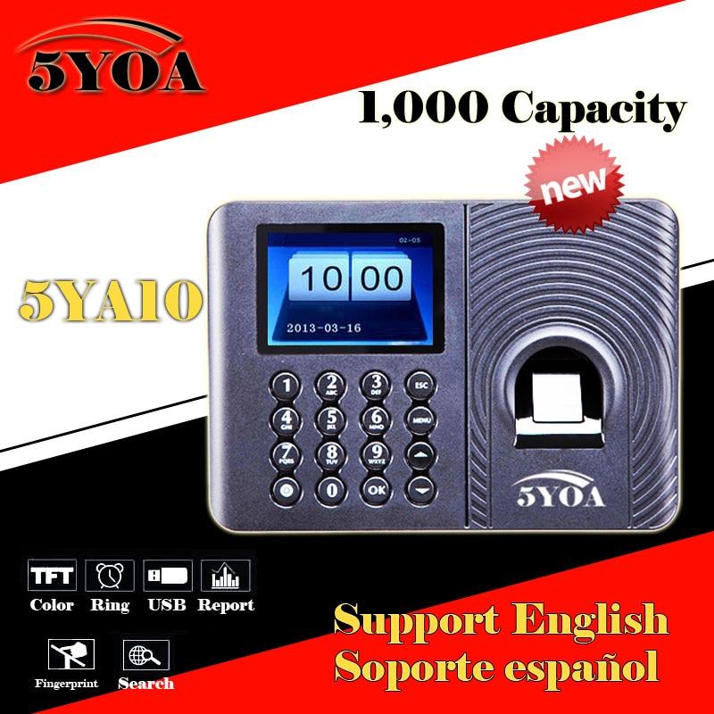 Biometric Fingerprint Time Attendance System Clock Recorder Employee Electronic English Spanish Portuguese Reader Machine