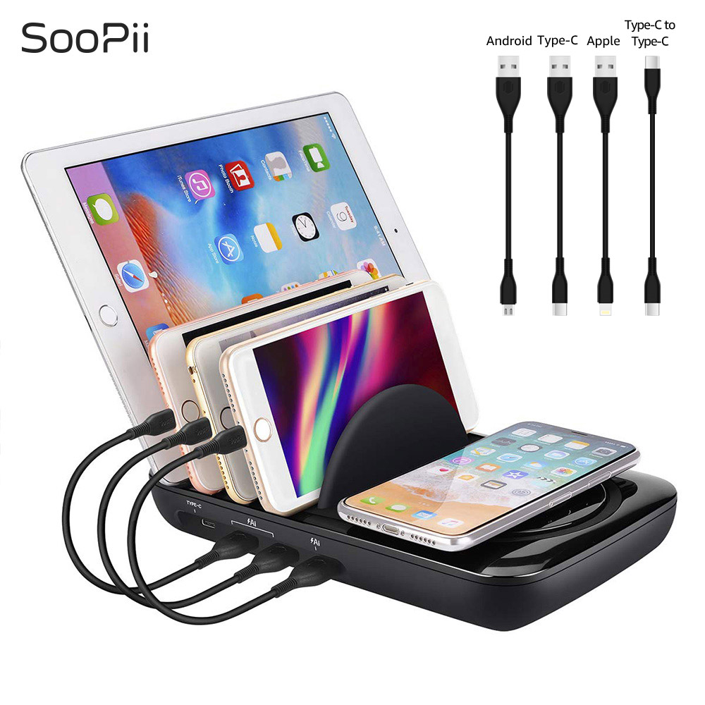 SooPii 5V 7A fast charger Multi port charging station with wireless pad and 4 pcs cables