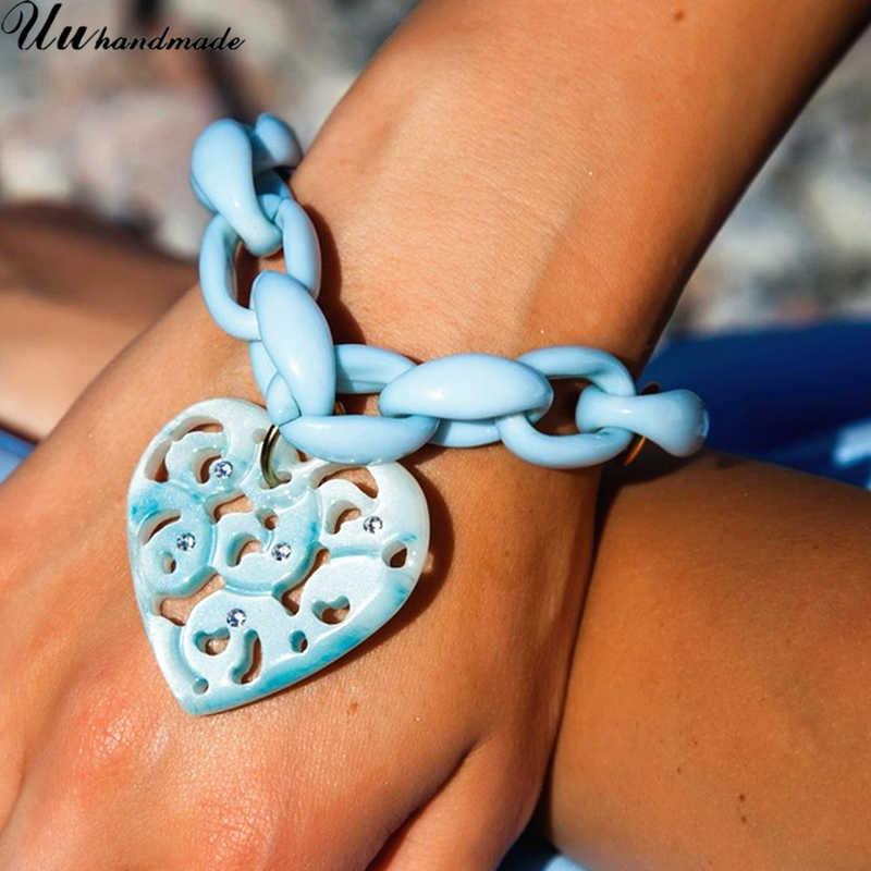 2018 limité étain acrylique bracelet à breloques Pulseiras Bracelets Bracelets amour pour les femmes Femme manchette célèbre marque nouveau coeur pendentif
