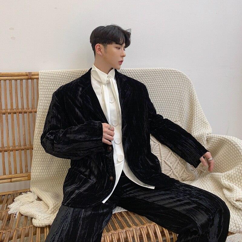 2019 New Men Velvet Casual Blazer Suit Jacket Male Vintage Fashion Loose Suit Coat Streetwear Hip Hop Outerwear