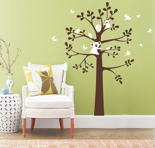 SUPER Koala Bird on Tree Wall Decor Vinyl Decal Kids Baby Removable ...