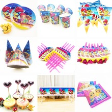 Shimmer and Shine kids Birthday Party Decorations Supplies Baby Shower Tablecloth Cups Banner Caps Plates Straws Tablewares  Set