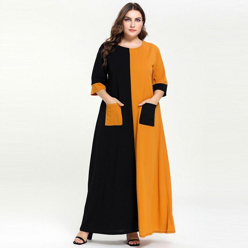 2019 Summer Women Modern Stylish Ramadan Muslim Dress Plus Size Half Sleeve Loose Long Dresses Islamic Dress Vestidos XXXL 4XL